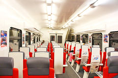 Inside carriage of  express train AEROEXPRESS from Moscow. Centre to Sheremetievo airport, Russia. The first rail link connected Moscow and Sheremetyevo Airport Royalty Free Stock Photography