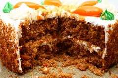 Inside Carrot Cake. Close up of inside of cut carrot cake stock image