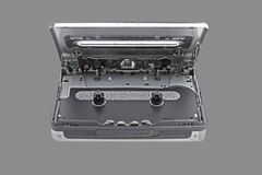 Inside Cassette Player on Gray Background Royalty Free Stock Image