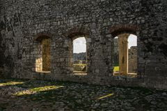 Inside the castle - view of the ancient castle`s arches, Shkoder, Albania. Space for text Royalty Free Stock Images