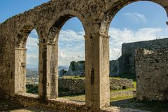 Inside the castle - view of the ancient castle`s arches, Shkoder, Albania. Space for text Stock Photo