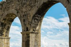 Inside the castle - view of the ancient castle`s arches, Shkoder, Albania. Space for text Royalty Free Stock Photo