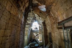 Inside the castle that was broken down of Bayon Temple at Angkor Thom. stock photos