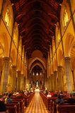 Inside a cathedral. Inside of the St.Patricks Cathedral on Sunday morning stock photo
