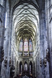 Inside the cathedral. Inside gothic cathedral. Interior details with altar, ceilings and pillars Stock Photos