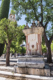 Inside the Cathedral mosque in the courtyard called `Los Naranjos` of Cordoba, Spain Stock Photography