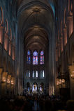 Inside the cathedral of Notre Dame. Paris Stock Photography
