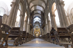 Inside Cathedral of Santiago de Compostela The Romanesque facade Stock Images