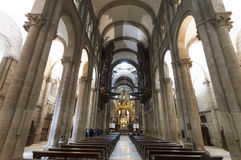 Inside Cathedral of Santiago de Compostela The Romanesque facade Royalty Free Stock Image