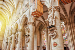 Inside Cathedral of St. Michael and St. Gudula  is a Roman Catho Royalty Free Stock Photos