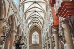 Inside Cathedral of St. Michael and St. Gudula  is a Roman Catho. Lic church in Brussels, Belgium Royalty Free Stock Images