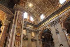 Inside cathedral of St. Peter in Vatican. (Basilica di San Pietro Stock Photo