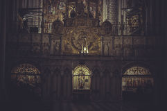 Inside the cathedral of toledo with huge arches and carvings Royalty Free Stock Photography