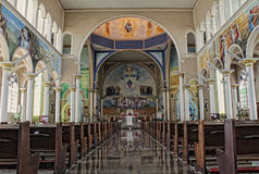 Inside of a catholic cathedral Royalty Free Stock Photo