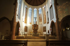 Catholic church interior architecture. Interior of St Elisabeth catholic church in city of Darmstadt, Germany Royalty Free Stock Image