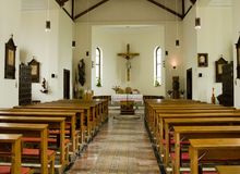 Inside of a catholic church Royalty Free Stock Photos