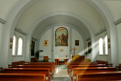 Inside of catholic church in Heraklion royalty free stock images