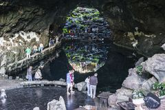 Jameos del Agua, Lanzarote. Inside the cave in Jameos del Agua on the island Lanzarote, Canary Islands, Spain royalty free stock images