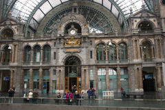 Inside the central train station in Antwerp Stock Photos