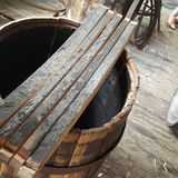Inside charred panels of white ash bourbon barrel stock images