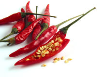 So, this is the inside of chilis!. Isolated still of red chilis, front one opened Royalty Free Stock Image