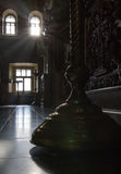 Inside Christian Church - candle holder in orthodox church at sunny day, silhouette Stock Images
