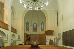 Inside of the Christuskirche in Windhoek at sunset Stock Photos