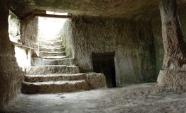 Inside Chufut-kale cave town, Crimea, Ukraine. Inside Chufut-kale - ancient cave fortress, Crimea, Ukraine royalty free stock images