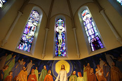 Inside church. Decoration behind an altar inside a Catholic church royalty free stock images