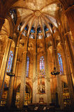 Inside church. Interior view of Barcelona Cathedral Royalty Free Stock Photos