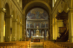 Inside the church. Interior of a catholic church in german speaking belgium Malmedy Stock Photography