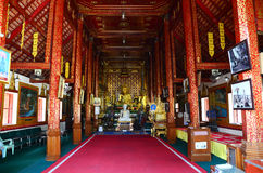 Inside of Church and Buddha Statue of Wat Phra Sing Stock Image