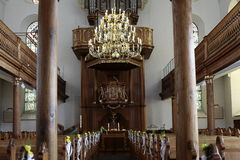 Inside a church. Catholic church from the inside. A church is decorated for a wedding Royalty Free Stock Photos