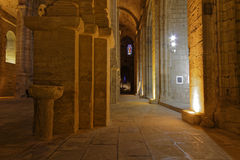 Inside church of Fontfroide Abbey Royalty Free Stock Images