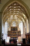Inside the church. Fortified medieval church Biertan, Transylvania. Royalty Free Stock Photos