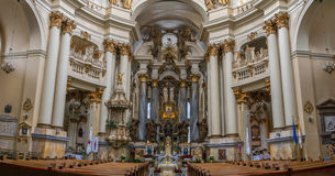 Inside a church - interior decoration of ancient cathedral. In Lviv, Ukraine Stock Photography
