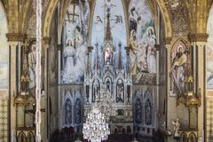 Inside the church. Mother Church Our Lady of Patrocínio in Gothic style, inside the church she is very beautiful with many details. the church is in the city royalty free stock photos