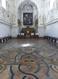 Inside of the church of the Oratory of Saint Lorenzo with a spectacular pavement to Palermo, Sicily. Italy royalty free stock photo