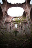 Inside of church ruins. Near Lviv, Ukraine royalty free stock image