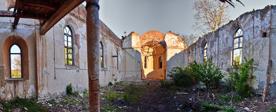 Inside church ruins Royalty Free Stock Photos