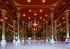 Inside church of wat asokaram temple samuthprakan thailand Royalty Free Stock Images