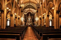 Inside classic and fancy church royalty free stock photo