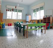 Inside a classroom of a kindergarten. Inside a classroom of a daycare center without children royalty free stock images