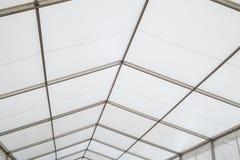 Inside a clear span marquee. Aluminium framework marquee stock photos