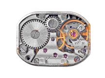Inside the clock (clockworks) Stock Image