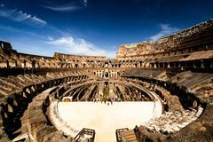 Inside the Colloseum, Rome, Italy. A shot of the interior of the Colloseum in Rome, Italy royalty free stock images