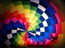 Inside colorful hot air balloon