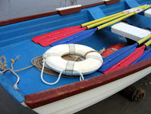 Inside A Colorful Lifeboat. Looking In A Lifeguard Boat Royalty Free Stock Images