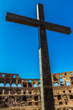 Inside The Coloseum - cross Royalty Free Stock Photography