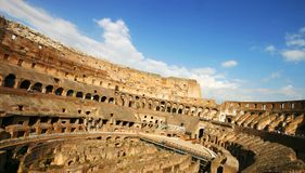 Inside the Colosseum. Wide angle inner view of the Collosseum Royalty Free Stock Images
